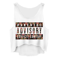 Parental Advisory Cropped Tank Top ($10) ❤ liked on Polyvore featuring tops, shirts and tank tops