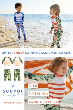 If you like camo, you are going to love seeing your little one wear this re-imagined classic. Totally unisex, these blue or green camo and stripes swimming costumes are great for boys and girls. Blocking 99.8% of uv sun rays perfect for in or out of water sun protection. Your kids will look great everywhere and looking good and feeling good is what it's all about!   Sun Pop Life, sun protection your kids will actually want to wear.
