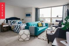 We were recently challenged by Walmart to completely redesign a student& studio apartment in Chicago's Presidential Towers Studio Apartment Layout, Small Studio Apartments, Studio Apartment Decorating, Cool Apartments, Apartment Interior, Apartment Design, Apartment Therapy, Studio Apt, Apartment Ideas