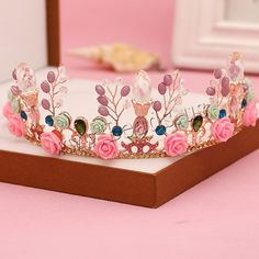 Bridal Tiaras Zinc Alloy with Crystal Resin Crown gold color plated for  bridal faceted with rhinestone lead cadmium free wholesale jewelry beads 431a29f8876a