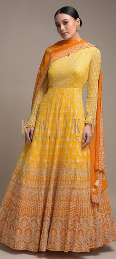 Butter Yellow Ombre Anarkali Suit In Georgette With Lucknowi Embroidery Online - Kalki Fashion Indian Wedding Outfits, Pakistani Outfits, Indian Outfits, Pakistani Fashion Party Wear, Pakistani Dresses Online, Anarkali Dress Pattern, Lehnga Dress, Kurti Designs Party Wear, Lehenga Designs