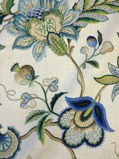 Crewel Style Printed Artwork Beautiful Floral Brissac Cotton Linen Texture Sapphire New item - Cotton Linen Fabric Drapery Fabric Sold by the yard 54 inches wide Cotton linen blend Indigo blues light aquas and teals are in the flowers and leaves from LOOM