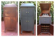 Before and After of Antique Victor Victrola Phonograph repurposed into a Wine Bar. By Repurposed Creations