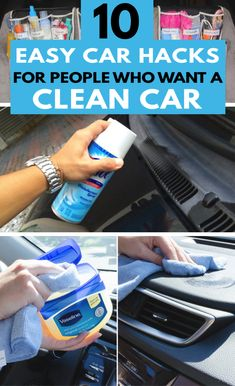 Check out these clean car hacks so that your car can be kept clean and tidy. These 56 car cleaning tips are well worth checking out! cleaning tips 10 Cleaning Hacks That'll Actually Keep Your Car Clutter Free Diy Car Cleaning, Deep Cleaning Tips, Household Cleaning Tips, House Cleaning Tips, Diy Cleaning Products, Cleaning Solutions, Spring Cleaning, Clutter Solutions, Cleaning Items