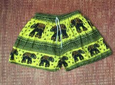 Shorts Elephants Printed Boho Beach Hippie Hipster Clothing