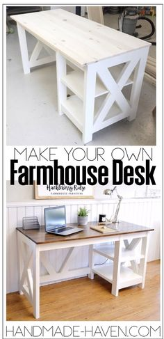 Woodworking Projects Ideas DIY Woodworking Plans for A Farmhouse Desk. How To features detailed instructions.Woodworking Projects Ideas DIY Woodworking Plans for A Farmhouse Desk. How To features detailed instructions. Diy Bureau, Bureau Simple, Simple Desk, Farmhouse Desk, Farmhouse Furniture, Farmhouse Plans, Antique Furniture, Diy Furniture Projects, Design Furniture