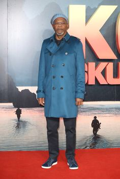 Samuel L Jackson wearing a Burberry Cashmere Trench Coat to the premiere of Kong: Skull Island in London