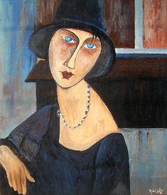 algo más que cuadros: Retrato de Jeanne con sombrero.