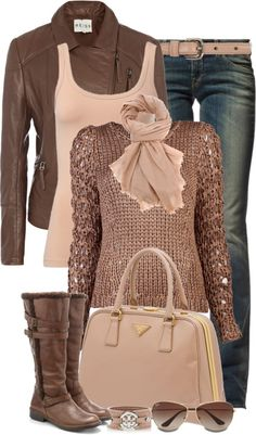 Browns & Pinks Winter Outfit. Jacket, Sweater, Tank top, Jeans, Belt, Scarf, boots & purse.