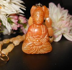 MEDITATING BUDDHA: Yellow Nephrite Jade Buddha with Yellow Jade and Garnet Beaded Necklace