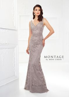 Montage By Mon Cheri 118968 - Offering two looks in one, this sleeveless Venise lace fit and flare gown features front and back V-necklines, an intricately beaded natural waist and detachable three-quarter lace illusion sleeves. NEW Color: Navy Blue