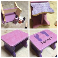 DIY step stool. Wooden stool (hobby lobby), paint, scrapbook paper, modge podge, sticker letters or stencils, glitter, clear sealant