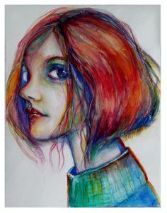 """Saatchi Online Artist: Dana Gardner-Clark; Watercolor, 2010, Painting """"Evokimg Cam"""""""
