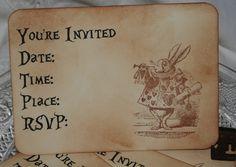 4 ALICE IN WONDERLAND-MAD HATTER INVITATIONS-Vintage Style-Tea Party-Wedding-UN | eBay