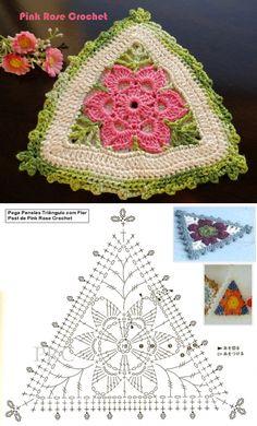 Crochet Motif Patterns, Granny Square Crochet Pattern, Crochet Diagram, Crochet Squares, Crochet Triangle, Crochet Mandala, Freeform Crochet, Crochet Fruit, Crochet Flowers