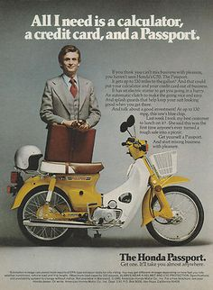 """Honda C 70 Passport, USA. Die Bezeichnung """"Passport"""" steht immer für die US-Cub. Honda Scooters, Honda Bikes, Honda Motorcycles, Vintage Motorcycles, Honda Motorbikes, Vintage Moped, Retro Scooter, Scooter Bike, Honda Cub"""