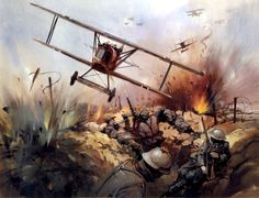 Fokker DVII, on Strafing Run over Trenches by Michael Turner