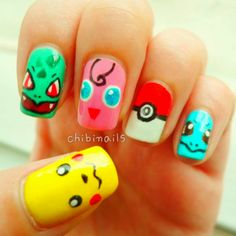 Pokemon design nails. Pikachu, Bulbasor, Jigglypuff, Pokeball, & Squirtle >:D OMFG!! I REMEMBERED ALL OF THEIR NAMES, LMAO!!!!