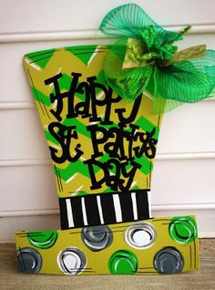 St Patricks Day door hanger  st patricks day by paintchic on Etsy, $32.50