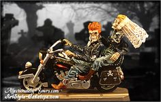 Motorcycle Skeleton Bride and Groom Wedding Cake Topper