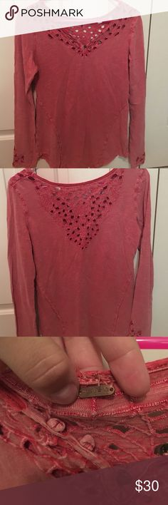 Free People Long Sleeved Top Long sleeved cotton top by free people! Burnt orange color and super comfortable! The rage at the top is falling off but can be sowed back on quite easily. Free People Tops Tees - Long Sleeve