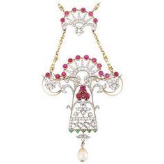 Art Nouveau Pearl Ruby Emerald Diamond Gold Pendant Necklace