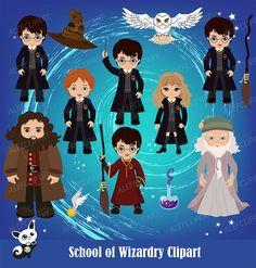 50% OFF SALE Harry Potter Digital Clipart, Wizard Clipart, Magic Clipart