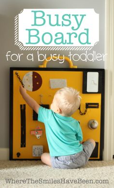Busy Board for a Busy Toddler! | Where The Smiles Have Been. Here's a great idea for keeping little ones occupied and having some safe fun! This would be a nice DIY project for a dad or grandpa (or mom too)!
