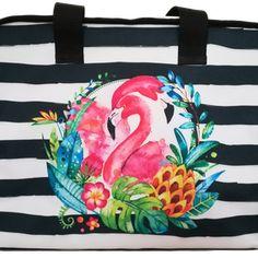 Flamingo - praktikus, cipzáras, vízhatlan, egyedi strandtáska - vízfesték hatású grafikával