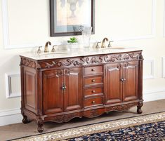 Adelina 64 Inch Antique Double Bathroom Vanity, Fully Assembled, Cream  Marble Counter Top,