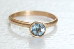 Size 5 Aquamarine Stacking Ring in 14k Gold by erinjanedesigns