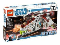 LEGO Star Wars Republic Gunship (7676) by LEGO. $359.95. Builders can take the battle to the Separatists with this heavily equipped troop transporter. Features include opening troop bay doors, removable command station and healing chamber, position able cannons, spy droids and flick missiles. Also includes two new minifigures, Plo Koon and Asajj Ventress, a Sith Loard equipped with a new double lightsaber. Contains 1,034 pieces. Deploy the speeder bike from the back; multiple ...