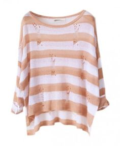 Ripped Pullover with Stripe Print - Knitwear - Clothing