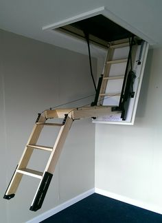 Automatic Attic Stairs - http://www.sbadventures.com/automatic-attic-stairs/ : #StairIdeas Attic stairs can be designed with automatic style for easy and simple way in climbing up and down the attic space. Attic is high and in order to be able in reaching the space without hard effort, then spending some cash to build a project stairs will worth. Stair for the attics – It should give y...