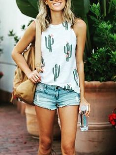 Fashion Cactus Print Halter Casual Tank Top