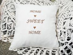 Home Sweet Home white embroidered linen pillow cover by leonorafi www.etsy.com/shop/leonorafi