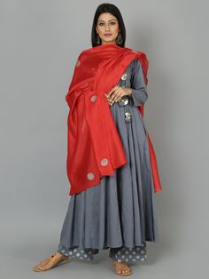 Grey Red Angrakha Cotton Anarkali Suit - Set of 3 African Traditional Dresses, Indian Dresses, Indian Outfits, Emo Outfits, Indian Attire, Indian Wear, Cotton Anarkali, Suits For Women, Clothes For Women