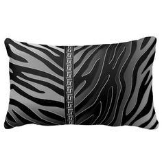 Chic Elegant Classy Diva Metallic Silver Black Zebra Animal Throw Pillow