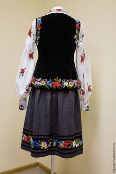 Hand embroidered black waistcoat The by Handembroiderykvitka