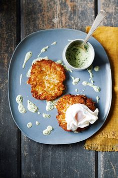 Potato rosti and poached egg with fresh herb sauce