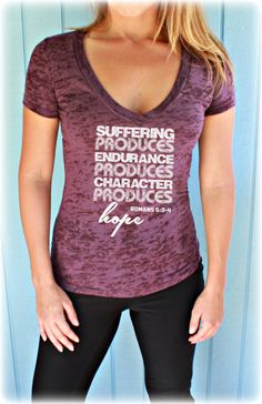 Christian Womens Workout Vneck Tee. Romans 5: 3-4 Suffering Produces Hope Bible Verse Workout Jesus T Shirt.