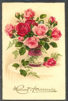 NX060 Pink & Red ROSES in VASE Fine LITHO PITTIUS divided back in | eBay