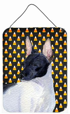 Rat Terrier Candy Corn Halloween Portrait Wall or Door Hanging Prints