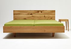 Contemporary style wooden double bed, design by Laszlo Szikszai Wooden Double Bed, Double Beds, Plywood Bed Designs, Bamboo Furniture, Furniture Design, Pine Beds, Diy Bett, Modern Exterior House Designs, Diy Bed Frame