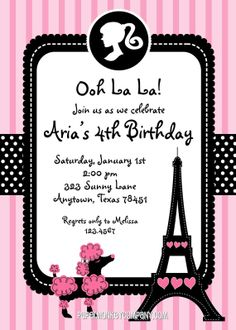 Pink Paris Poodle Themed Birthday Party by PMCInvitations on Etsy, $1.00