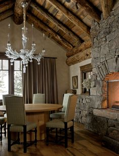 Mountain Retreat -- the beamed ceilings and warm, time-worn wood, the antique and patterned rugs and grand stone fire places, all intermingled alongside tartan and plaid and pooling drapes, soft, caramel-coloured leather and velvet the shade of overcast skies, and glittery glass chandeliers, creating a perfect juxtaposition of town & country, rustic & refined . . .