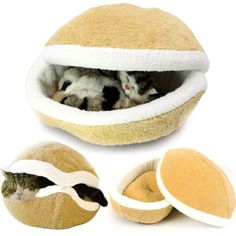 Bettli Hamburger Design Washable Pet Bed Soft Dog House Cotton Cat Sleeping Bag(Size L) Cool Cat Beds, Cool Cats, Cat Climbing Tree, Cheap Pets, Cat In Heat, Cat Tree Condo, Cat Accessories, Cat Sleeping, Pet Beds