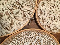 Vintage Crochet Doilies on Embroidery Hoops Collage - My Turn for Us Bobble Crochet, Crochet Blanket Edging, Crochet Doily Patterns, Crochet Mandala, Crochet Doilies, Crochet Coaster, Crochet Circles, Thread Crochet, Irish Crochet