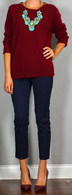 Burgundy and navy: low-key but great. Throw in an unexpected pop of turquoise and look what happens.