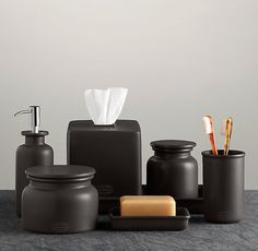 Flatiron Union Stoneware Accessories Collection Charcoal